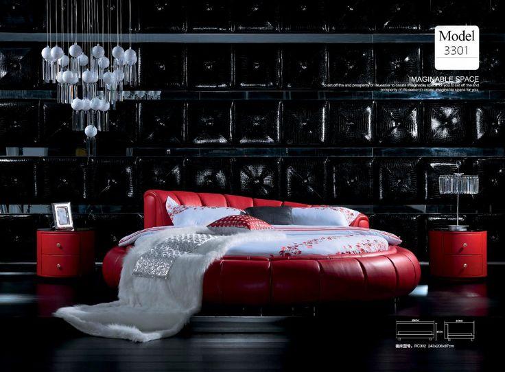 Diseño moderno de cuero verdadero genuino suave / cama doble tamaño king / queen muebles para el hogar dormitorio cama redonda estilo moderno