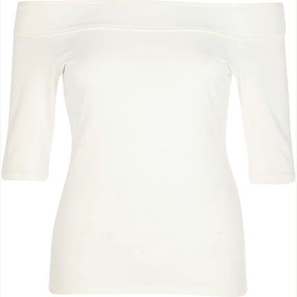 Cream bardot top $32.00 ... you need one of these.