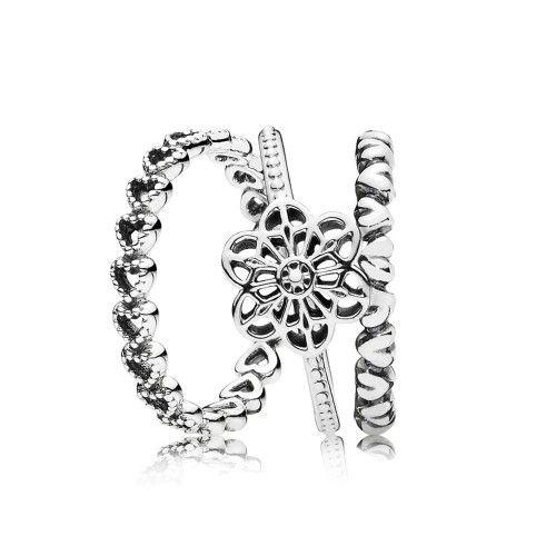 Cheap Pandora Love Flowers Ring Stack Online