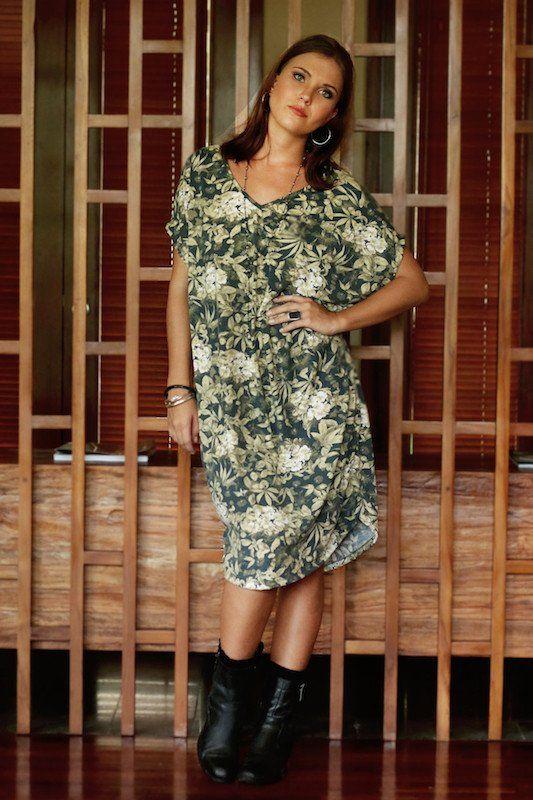 Nicky Dress - Wallpaper Flower/Palm Print