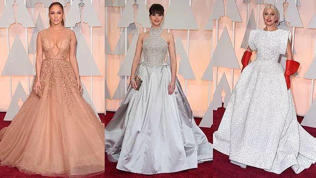 Дженнифер Лопес, Фелисити Джонс и Леди Гага на Оскаре 2015.