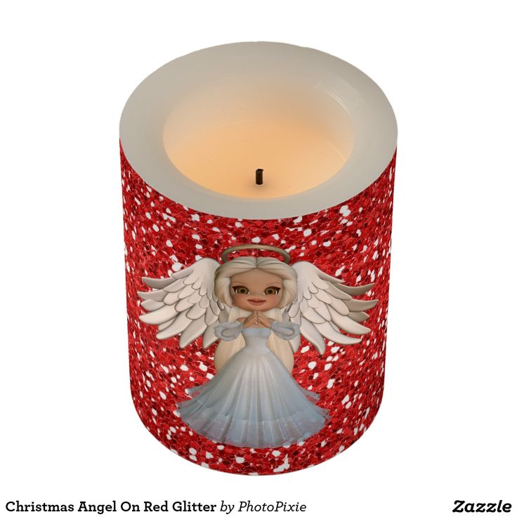 Christmas Angel On Faux Red Glitter