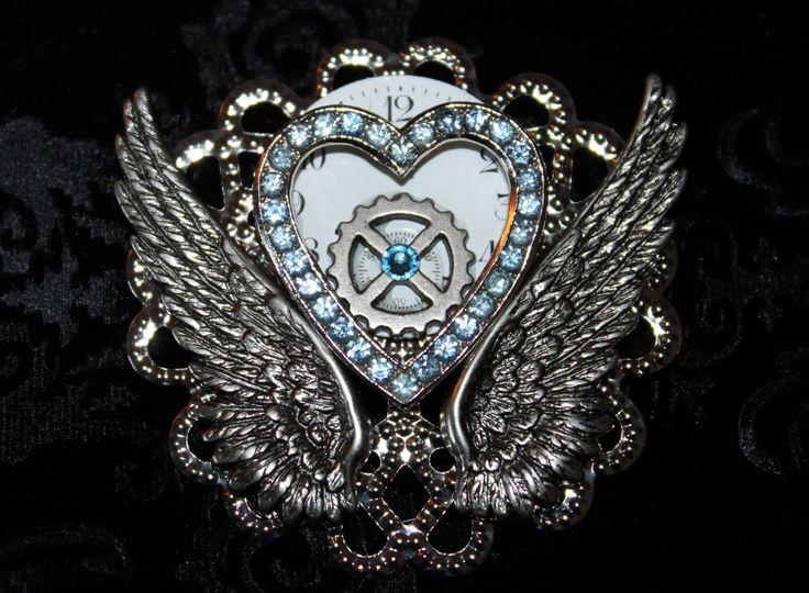 Steampunk brooch/pin- heart & wings