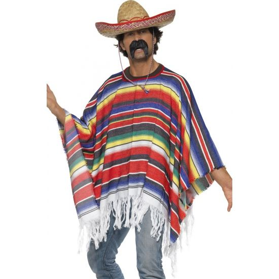 Mexicaanse poncho voor volwassenen. Het materiaal van deze Mexicaanse poncho is 100% polyester. Maat: one size. Deze Mexicaanse verkleed kleding is exclusief sombrero en accessoires. De Mexicaanse poncho heeft verschillende kleuren met aan de onderkant wit gekleurde touwtjes.