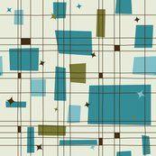 Mid-Century Modern - Grid & Stars (Teal) wallpaper - studiofibonacci - Spoonflower