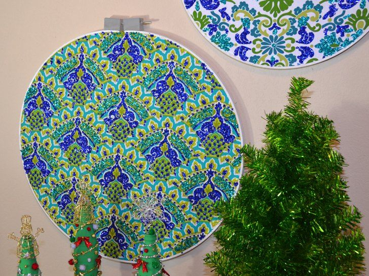 Walking through the craft store I realized that the quilting hoops hanging up looked an awful lot like Christmas ornaments. I said as much to Rob and while we w�