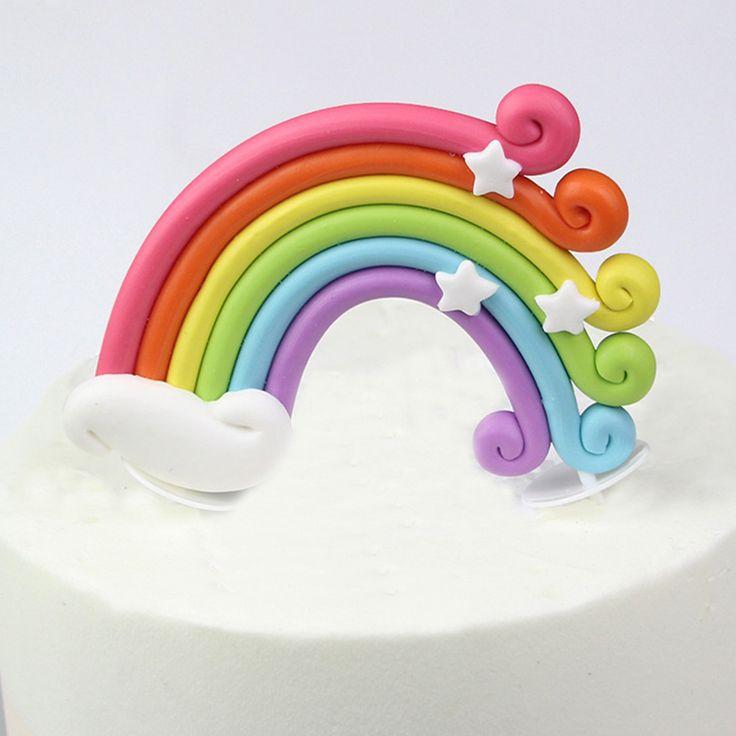 Large rainbow birthday cake topper cake decoration mini