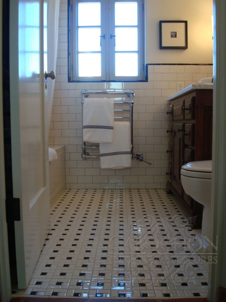 Bathroom Floor In Black And White Ceramic Pinwheel Patterned Tile Wainscott In 3x6 White Subway