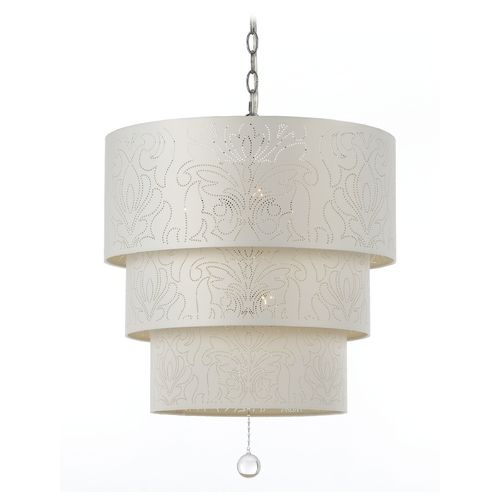 Three tier drum shade pendant light from the Candice Olson line by AF Lighting.Accent Piece, Lighting Mirrors Design, Tiered Pendants, Drums Pendants, Lights Mirrors Design, Shades Pendants, Pendants Lights, Candice Olson, 5Light Pendants