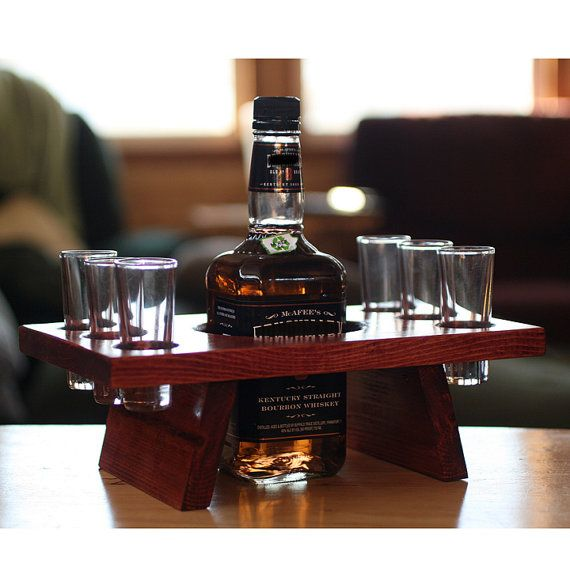 Shot glass shooter set wood stand bar set man cave by KMGstore, $35.00