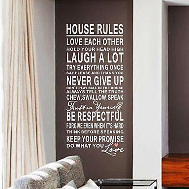 Phrases Wall stickers huisregels wasbaar muuroverdrukplaatjes - EUR € 18.17