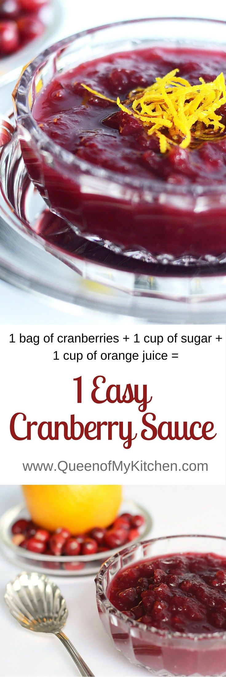 1 Easy Cranberry Sauce is the easiest ever homemade cranberry sauce. Just 3 ingredients, 1 measurement, and 0 cleanup. The perfect complement to your  Thanksgiving Turkey.   QueenofMyKitchen.com