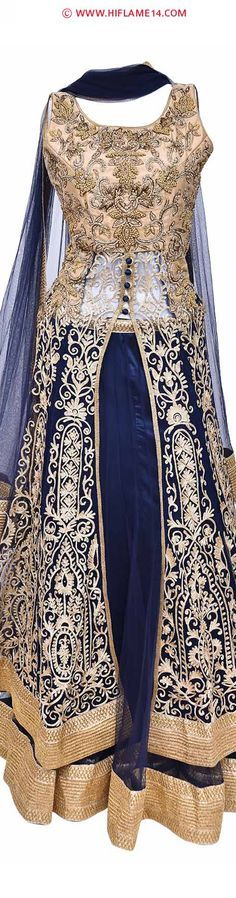Rent anywhere india : Princess Style Grand Lehenga Choli  Carry an amazing style with exclusive princess style lehenga. This intricately designed bridal lehenga is enhanced with bright blue color with sequence works at the border. The long lehenga comes with a princess cut fit with a bust size of 34 inches with the choli length of 55 inches.