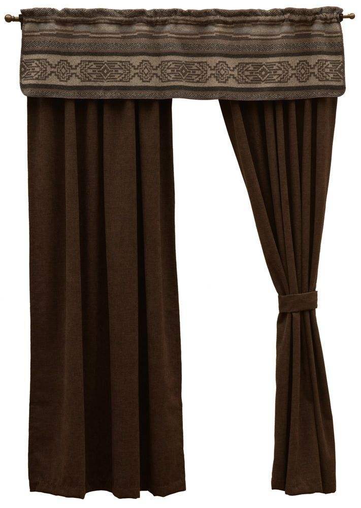 The window dressing made for the Lodge Lux Western Bed Ensemble set includes a matching window valance, a pair of 53 x 84 rod pocket drapery panels made of dark espresso corduroy fabric called Heavenly Espresso, and a pair of matching tiebacks.  However, it will work well with any Southwestern or Western themed room.   American made to order by Wooded River.