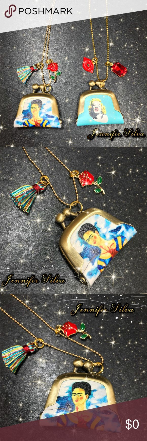 """Frida kahlo and Marilyn Monroe Purse Necklace Frida kahlo and Marilyn Monroe Leather Pouch Purse Pendant Necklace I have been dying to show you this beauty!   This is a cute and quirky purse pendant necklace. A delicate little purse with a gorgeous woman image is attached to a 24"""" or 27"""" ball chain  Purse is about 40x45mm Purse Material: Antique Bronze Plated Frame & Leather   ✬✬Colors may appear different on various monitors✬✬  Listing is for necklace only. Jewelry Necklaces"""