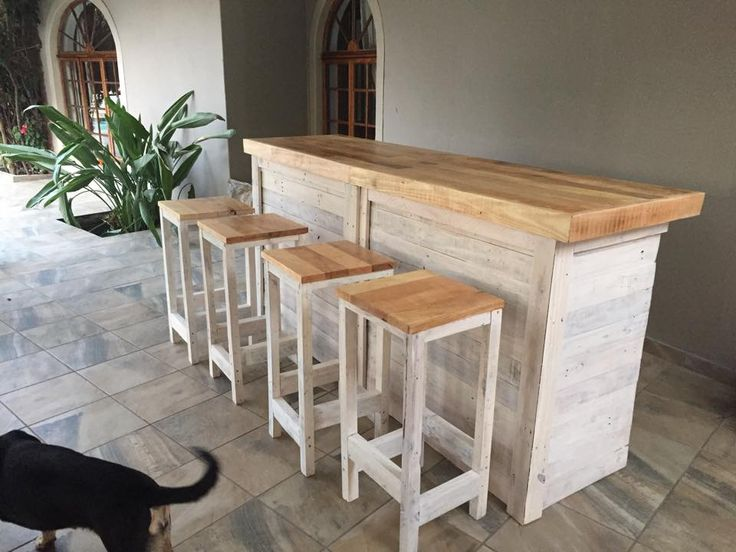 Bar Counter With Stools From Pallet Wood Country Decor