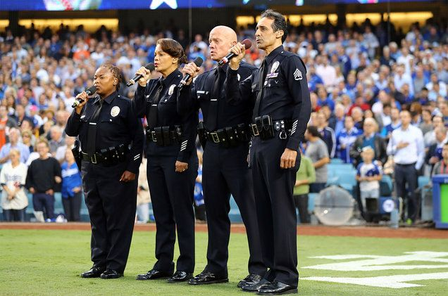 National Anthem 7th game World Series -1/1/2017. Quartet from the LA Police Department