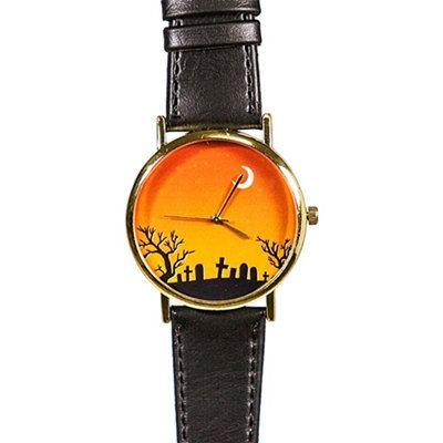 Halloween Cemetery and Moon  Watch,  Vintage Style Leather Watch, Women Watches, Boyfriend Watch, Men's Watch