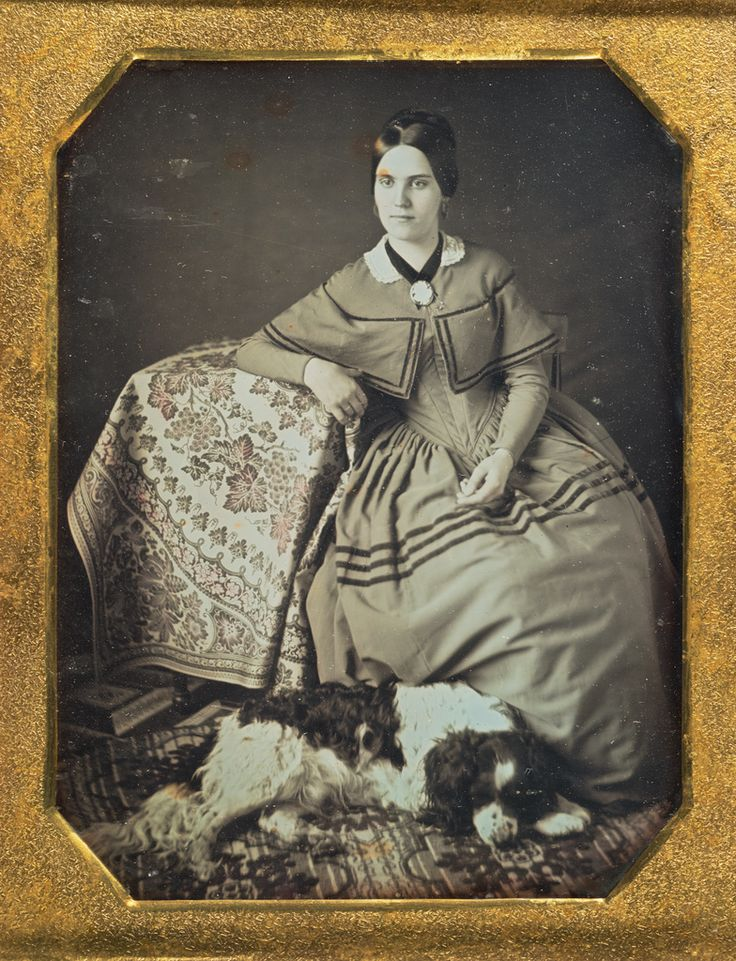 [Portrait of a Seated Young Woman and Dog]; Unknown maker, American; 1845 - 1847; Daguerreotype; 84.XT.1575.6; J. Paul Getty Museum, Los Angeles, California