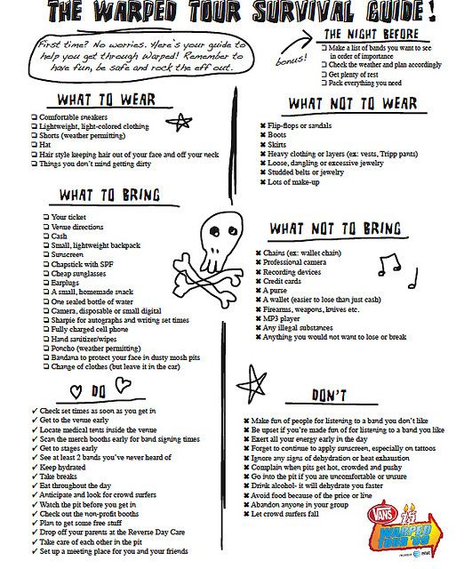 Vans Warped Tour  Survival Guide by Warped Tour This is perfect!