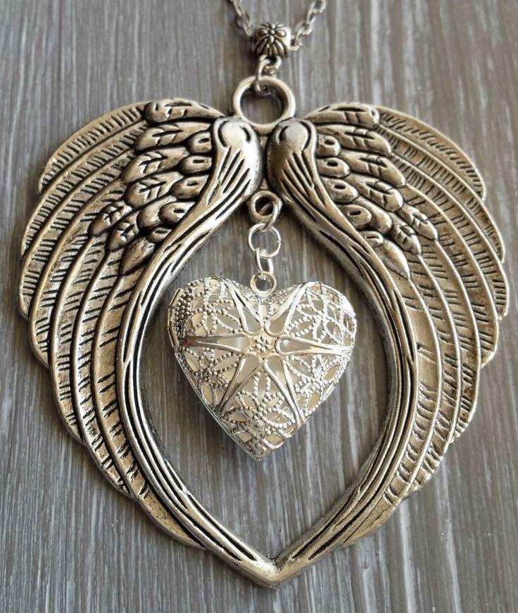 Medaillon kette mit echten Flügel Gothic Herz Engel Steampunk Foto locket Feder