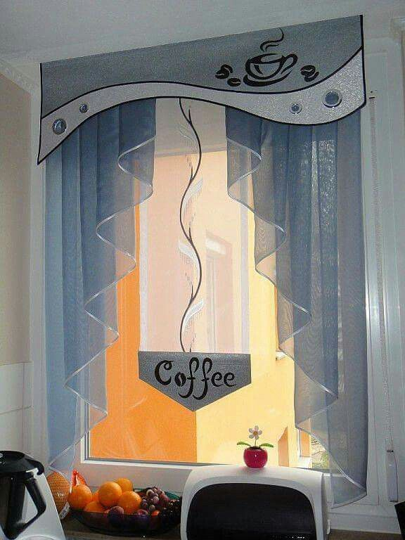 Love this treatment for a coffee nook...even the cornice with the coffee aplique is adorable!