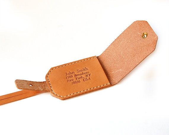 Leather Bag Tag Handmade Luggage Name Tag Custom by RitsandRits