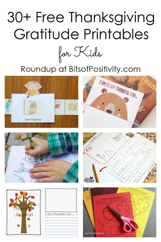 30+ Free Thanksgiving Gratitude Printables for Kids #thanksgiving #printable