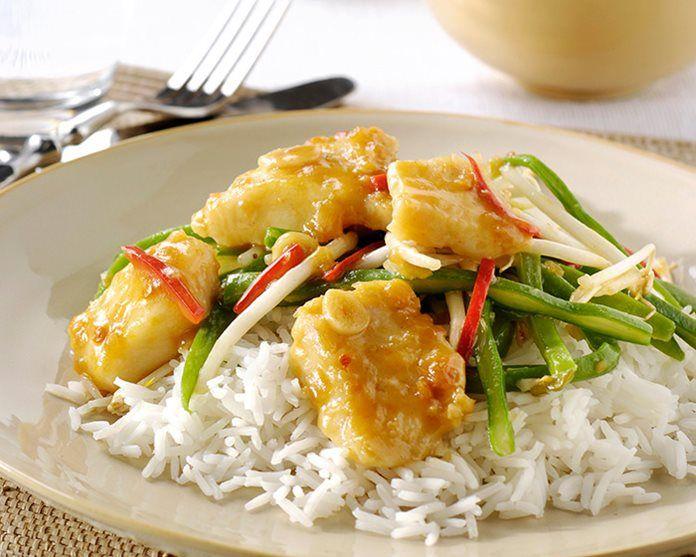 Vis met snijbonen en witte rijst recept