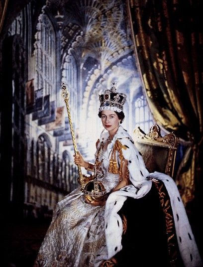 The Coronation of HM Queen Elizabeth II on this day 2nd June, 1953, took place at Westminster Abbey in London. It  was the first British coronation to be televised and was a cold, wet day. (Just like today)