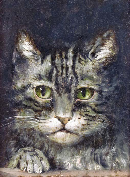 Antique painting of a Grey Tabby Cat - late 19th or Early 20th Century Genre School