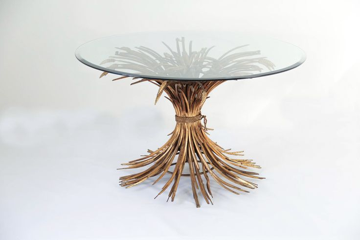 Rare Large French Vintage Gilt Sheaf of Wheat Center Table // In Style of Coco Chanel // 1970s - Wall - Greedfineart.com