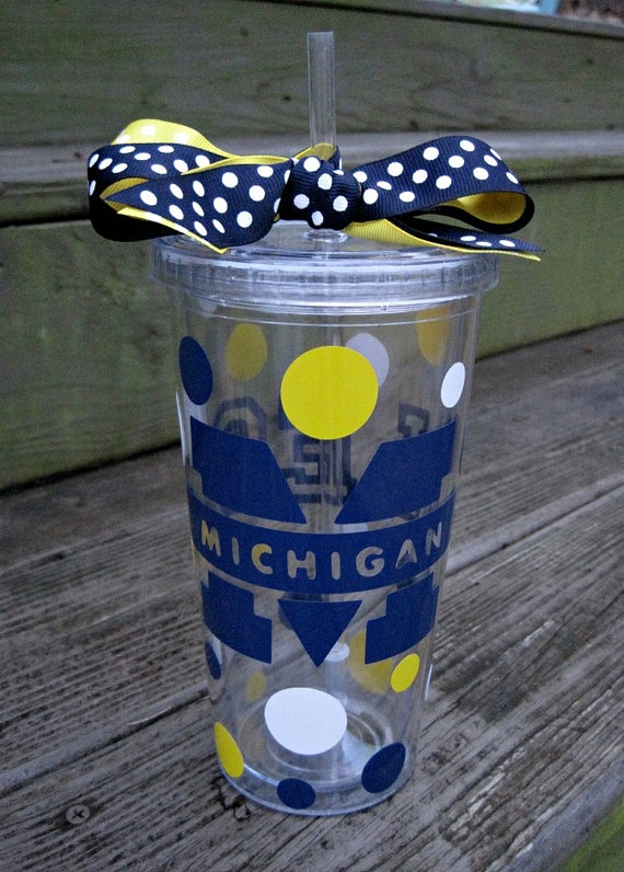University of Michigan acrylic tumbler with lid & by twosisters76, $14.50