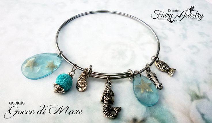 Bracciale acciaio inossidabile mare gocce stelle marine resina intarsiata, by Evangela Fairy Jewelry, 15,00 € su misshobby.com