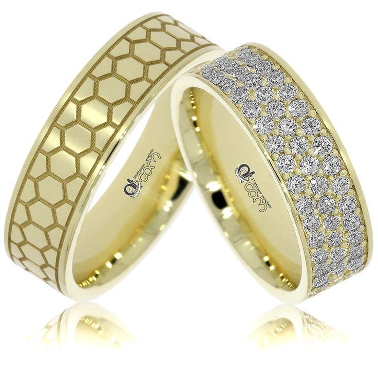 Verighete ATCOM Lux personalizate RAQUEL aur galben
