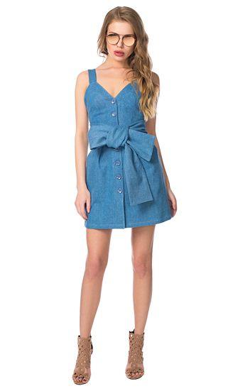 Джинсовое платье с поясом-гиперсайз I AM Studio / 2000000106434