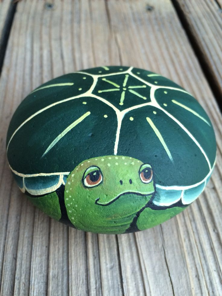 Turtle painted on stone. Love to paint whimsical pets.
