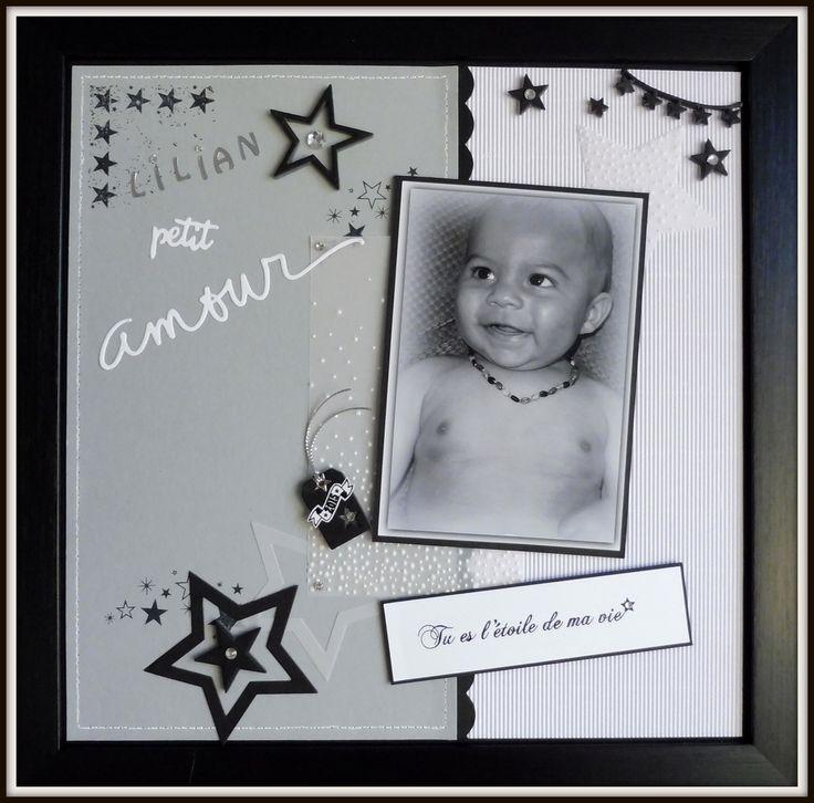 Une page de scrap, la première avec mon Petit Amour Lilian ! En noir et blanc, tout en douceur !....