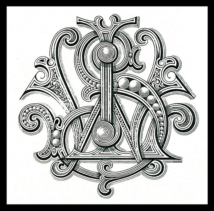 Engraved monogram for and by Smith, one of several on a large, engraved promotional card