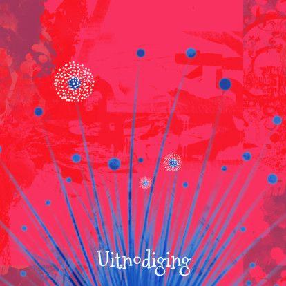 Uitnodiging rood met blauw - Uitnodigingen - Kaartje2go