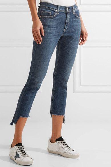 rag & bone - The Capri Distressed Mid-rise Skinny Jeans - Blue -