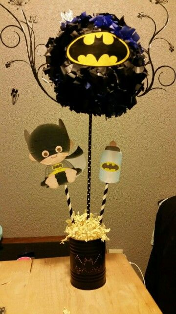 Our batman centerpiece for my baby shower