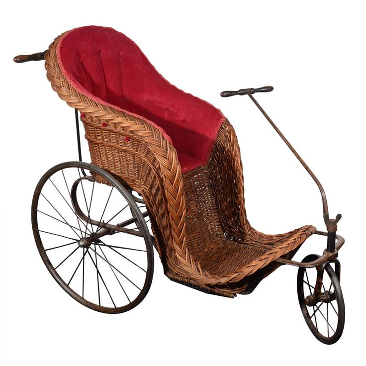 Victorian Wicker Pram with Upholstered Seat