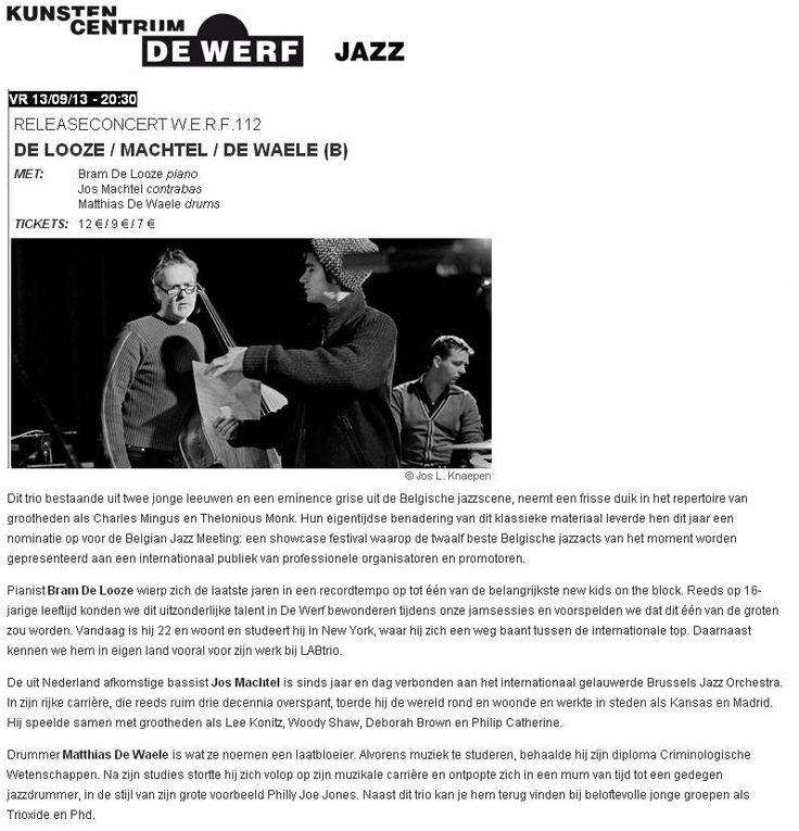 Releaseconcert De Looze / Machtel / De Waele 13/09/2013