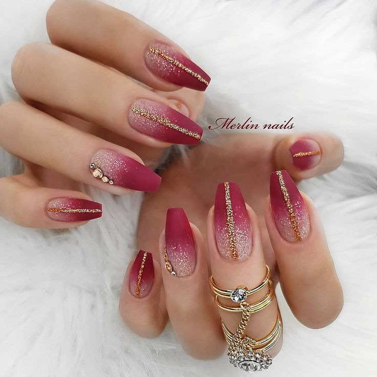 Maroon Gold Nails