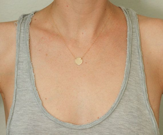 Gold disc necklace  dainty gold necklace  dainty by SeaAndCake, $58.00