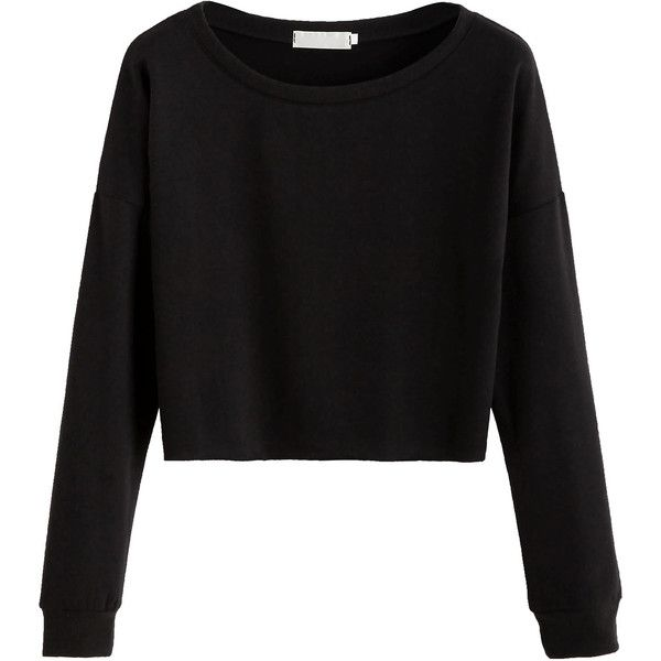Black Dropped Shoulder Seam Crop T-shirt ($11) ❤ liked on Polyvore featuring tops, t-shirts, shirts, sweaters, black, round neck t shirt, crop shirt, long sleeve tees, crop top and long-sleeve shirt
