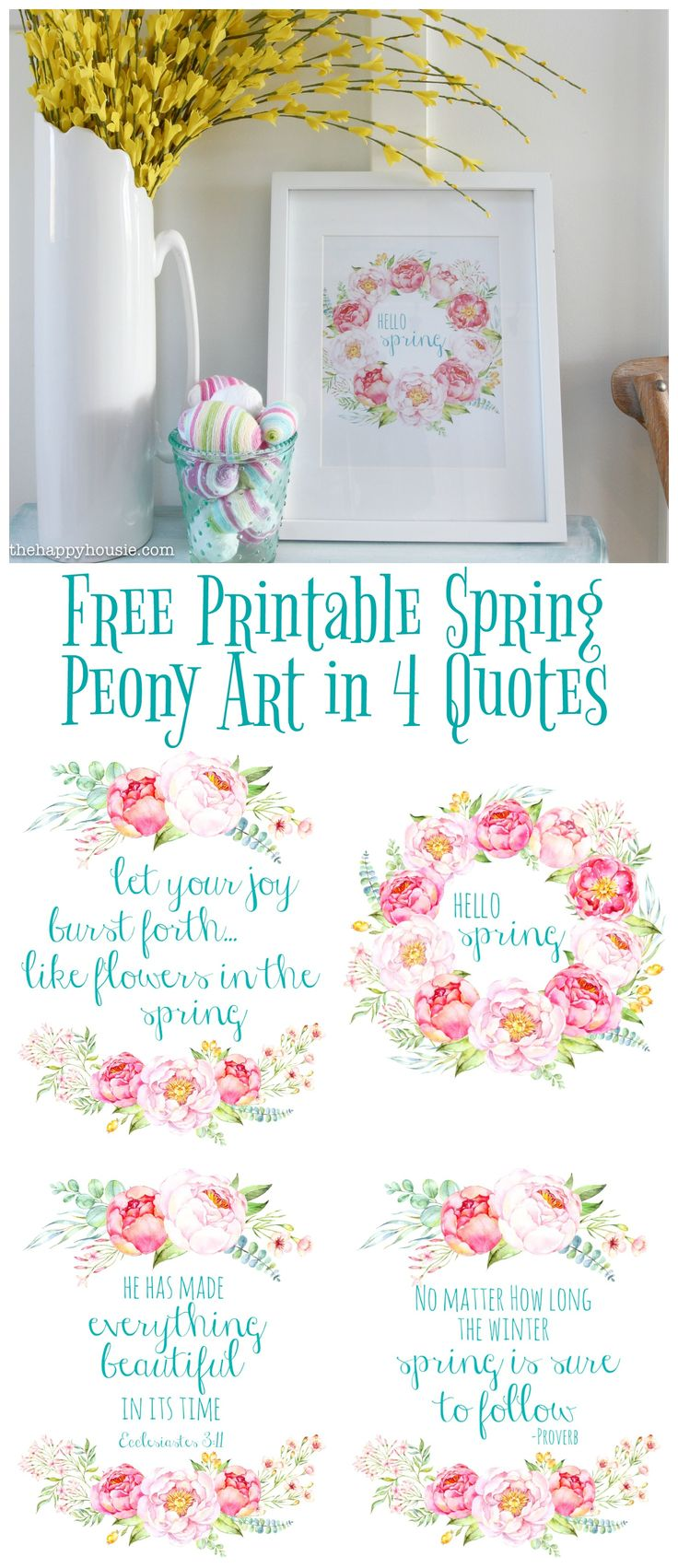 If you want to add a little spring to your decor and love peonies as much as I do then you will love these free printable spring peony art in four quotes.