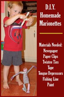 DIY Homemade Marionettes (puppets) -- An extension activity for THE QUIET PLACE by Sarah Stewart and David Small
