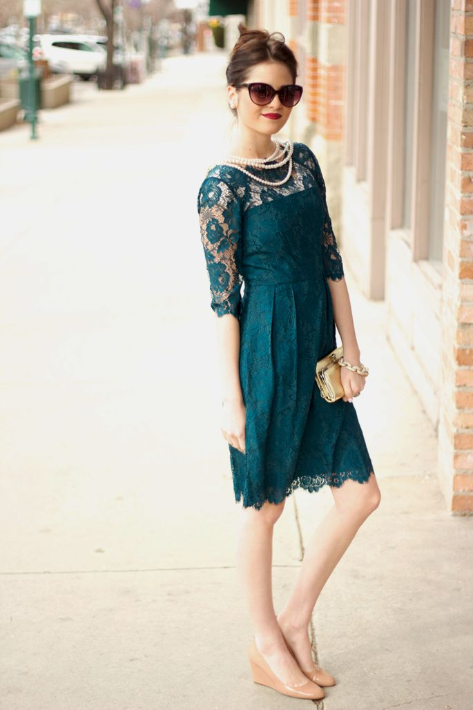 Lace and pearls.: Nude Shoes, Elegant Dresses, Color, Lace Sleeve, Blue Lace, The Dresses, Pink Peonies, Lace Dresses, Green Dresses